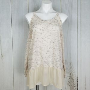 About A Girl Boho Cream Ruffle Marled Blouse